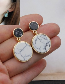 Fashion Multi-color Round Shape Decorated Color Matching Simple Earrings