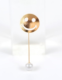 Fashion Gold Color Pearl Decorated Smile Expression Design Pure Color Earrings