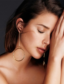 Fashion Gold Color Circular Ring Decorated Pure Color Simple Earrings