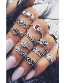 Fashion Silver Color Flower Shape Decorated Pure Color Simple Ring (11 Pieces)