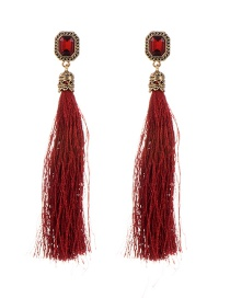 Fashion Red Diamond Decorated Tassel Design Pure Color Earrings