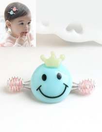 Cute Blue Smiling Face Decorated Simple Baby Hairpin