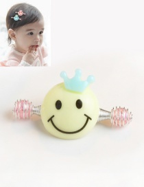 Cute Yellow Smiling Face Decorated Simple Baby Hairpin