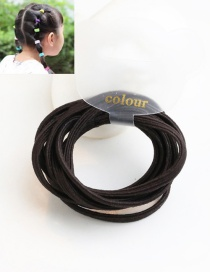 Cute Dark Coffee Pure Color Decorated Simple Round Hair Band (10pcs)