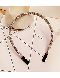 Fashion Silver Color Diamond Decorated Pure Color Simple Hair Hoop