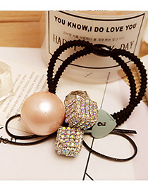 Elegant Pink Bead&diamond Decorated Color Matching Simple Hair Band