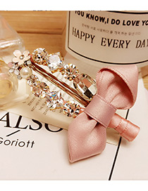 Elegant Pink Diamond Decorated Bowknot Shape Simple Hairpin