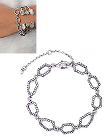 Fashion Silver Color Polygon Decorated Simple Hollow Out Bracelet
