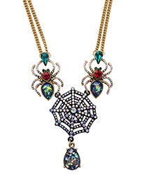 Vintage Multi-color Spider Web Decorated Double Layer Necklace