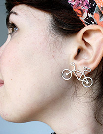 Fashion Silver Color Bicycle Design Simple Earrings