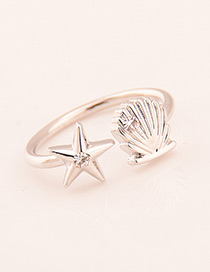 Fashion Silver Color Shell Decorated Opening Ring