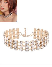 Elegant Gold Color Round Shape Diamond Decorated Simple Hollow Out Choker