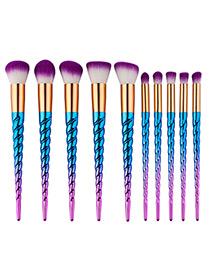 Fashion Blue+purple Unicorn Design Pure Color Decorated Simple Cosmetic Brush (10pcs)