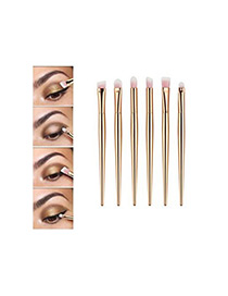 Fashion Gold Color Unicorn Design Pure Color Decorated Simple Cosmetic Brush (6pcs)