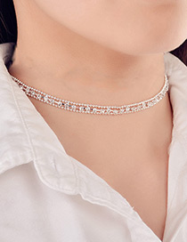 Trendy Silver Color Diamond Decorated Pure Color Choker