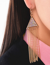 Fashion Gold Color Long Tassel Pendant Decorated Simple Earrings