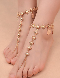 Fashion Gold Color Coins&tassel Decorated Pure Color Anklet