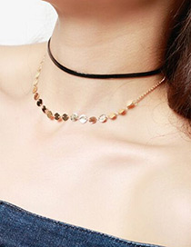 Fashion Gold Color Paillette Decorated Double Layer Simple Choker