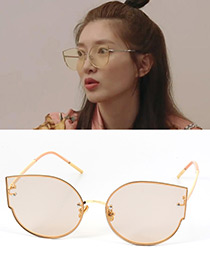 Fashion Light Yellow Cat's Eye Shape Decorated Simple Pure Color Sunglasses