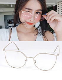 Fashion Silver Color Pure Color Decorated Simple Optical Glasses