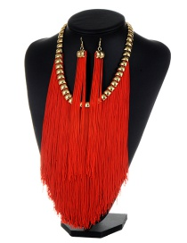 Bohemia Claret-red Long Tassel Decorated Simple Pure Color Jewelry Sets