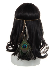 Bohemia Khaki Feather Pendant Decorated Simple Hair Band