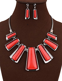Exaggerate Red Trapezoid Shape Decorated Simple Short Chain Jewelry Sets