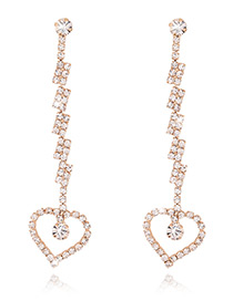 Fashion Gold Color Hollow Out Heart Shape Pendant Decorated Simple Long Earrings