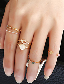 Vintage Gold Color Leaf Shape Decorated Simple Pure Color Rings(5pcs)