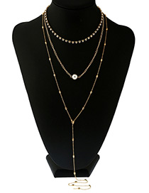 Vintage Gold Color Round Shape Decorated Simple Long Chain Muilayer Necklace