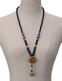 Vintage Black Flower Shape Pendant Decorated Simple Long Chain Necklace