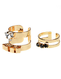 Fashion Gold Color Round Shape Diamond Decorated Simple Hollow Out Ring(2pcs)