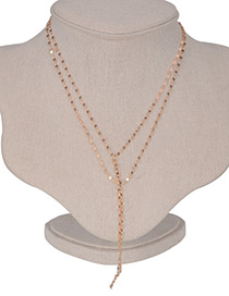 Fashion Gold Color Pure Color Decorated Simple Pure Color Long Chain Necklace
