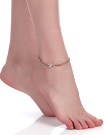 Fashion Gold Color Clover Shape Pendant Decorated Simple Anklet