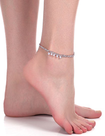 Fashion Gold Color Round Shape Diamond Decorated Simple Anklet