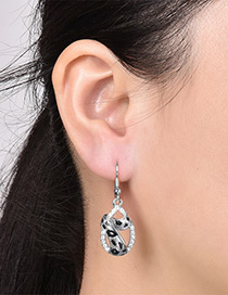 Fashion Silver Color Leopard Print Decorated Simple Earrings