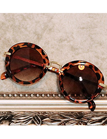 Fashion Brown Leopard Pattern Decorated Simple Children Sunglasses
