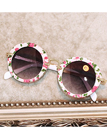 Fashion White Pure Color Decorated Round Shape Children Sunglasses
