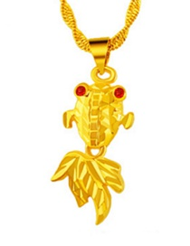 Elegant Gold Color Fish Shap Decorated Simple Pure Color Pendant (not Including Chain )