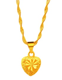 Elegant Gold Color Heart Shape Pendant Decorated Simple Pendant (not Including Chain )