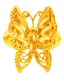 Elegant Gold Color Butter Shape Decorated Simple Pure Color Opening Ring