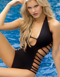 Sexy Black Straps Decorated Simple Hollow Out Swimwear