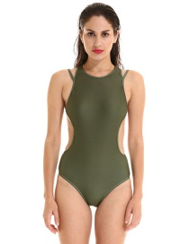 Sexy Army Green Pure Color Decorated Simple Swimwear