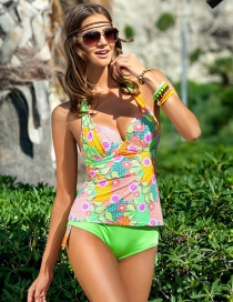Fashion Green Painted Design Simple Swimwear