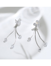 Luxury Claret-red Square Shape Diamond Decorated Earrings