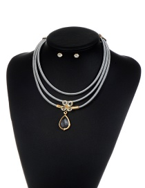 Luxury Gray Clover &oval Shape Pendant Decorated Multilayer Jewelry Sets