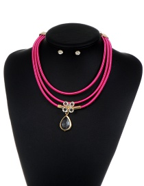 Luxury Plum-red Clover &oval Shape Pendant Decorated Multilayer Jewelry Sets Reviews