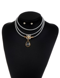 Luxury Silver Color Clover &oval Shape Pendant Decorated Multilayer Jewelry Sets