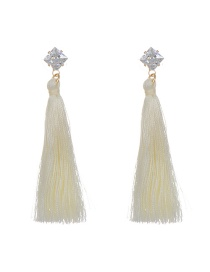 Bohemia Beige Square Shape Diamond Decorated Simple Tassel Long Earrings Reviews