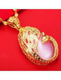 Luxury Pink Hollow Out Peacock Decorated Simple Pendant (not Including Chain )